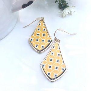 Unique Design!  Yellow Geometric Design Earrings